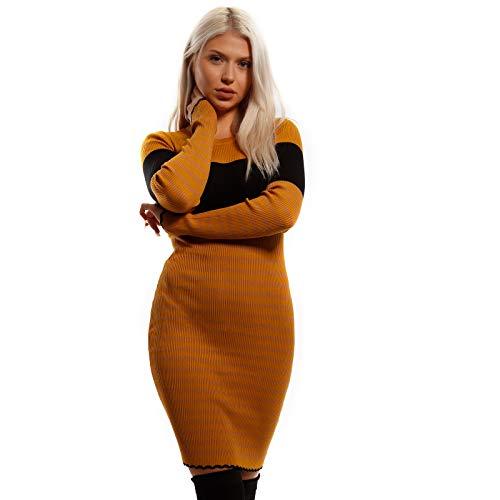 YC Fashion & Style Damen Strickkleid Long Pullover mit Rundhals Ausschnitt und Streifen Muster für Winter Herbst Freizeit Jumper Kleid One Size (One...