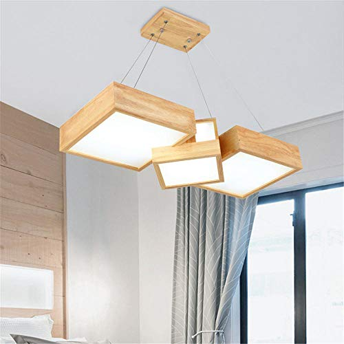 deckenleuchte led badDer geometrische quadratische Kronleuchter mit LED-Holzrahmen mit mehreren Köpfen ist einfach zu installieren 73 * 28 * 120CM-36W-3600lm