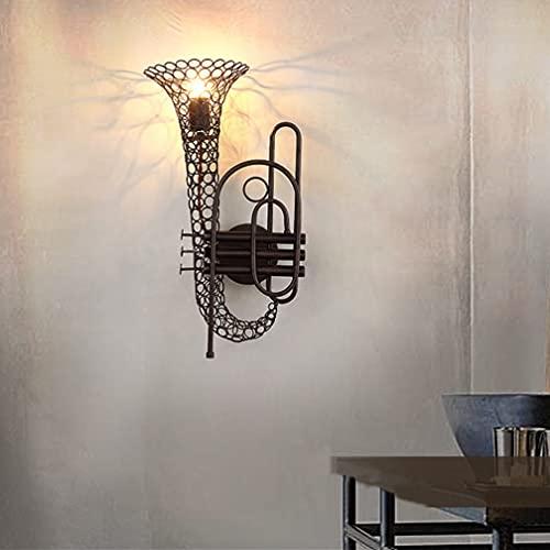 Industria creativa Lámpara de pared Metal Saxofón Diseño Lámpara de pared E27 Moderna Luz de pared Loft para Club Cafe Dormitorio Sala de estar Loft, Estudio, Café, Lámpara de corredor, Bar,Negro