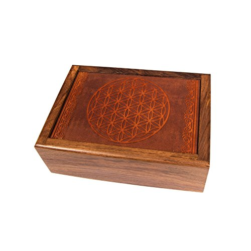 lillybox - Joyero de madera con diseño de flor de la vida,