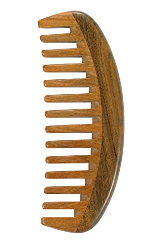 Louise Maelys Sandalwood Wide Tooth Hair Comb for Detangling - Anti Static Wooden Comb for Curly Thick Hair