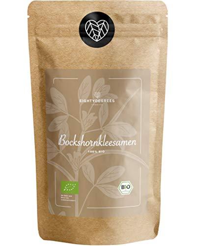 BIO Bockshornkleesamen - Bockshornklee Samen Tee - naturbelassen, als Tee oder Gewürz - Fenugreek Seeds - Premium Bio-Qualität - per Hand geprüft und abgefüllt in Deutschland   80DEGREES (250g)