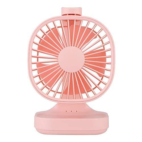 Ventilador USB de tres velocidades, potente ventilador de sobremesa, 4000 mAh (18650), blanco/rosa/azul para el hogar, dormitorio, oficina (rosa)