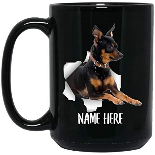 N\A Taza de café Negra con Nombre Personalizado Rojo Negro de Pinscher Miniatura Personalizado Divertido
