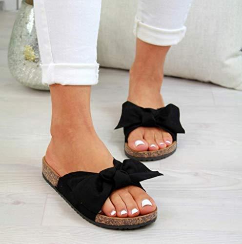 TAYIBO Pantofole Estive Scarpe da Spiaggia,Sandali con Fiocco Taglie Forti, Fondo Piatto, Scarpe da Spiaggia-Nero_43,Ciabatte Bagno per Antiscivolo Pantofole