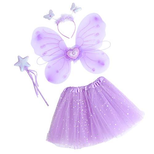 SOIMISS Set Costume Tutu Principessa Fata Set Costume Farfalla con Vestito Ali Bacchetta E Fascia Regali per Bambini Halloween Vestire Forniture per Feste Bomboniere