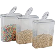 cereal container (3 PACK) - cereal storage containers made of clear plastic - cereal dispenser fits each 169 OZ / 21 cups - Leak proof