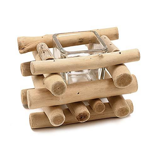 Portavelas de madera hecho a mano con taza de cristal rústica estilo costero rústico para casa de granja, decoración del hogar, decoración del altar de la casa, decoración de Holoday boda