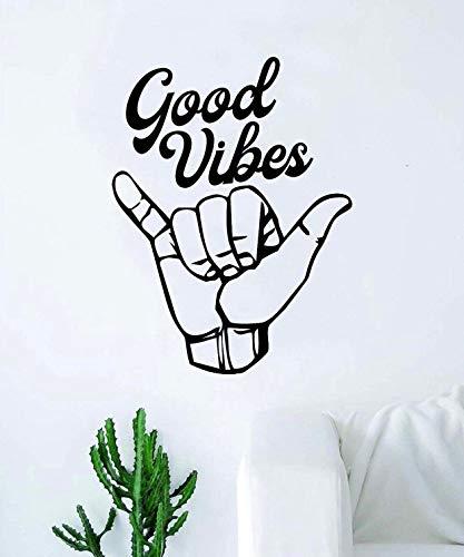 Shaka Good Vibes v3 Autocollant mural en vinyle pour chambre à coucher Motif Aloha hawaïen