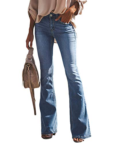 YAOTT Mujer Vaqueros Acampanados Skinny Push Up Pantalones Elástico Jeans Cintura Alta Azul 1 S