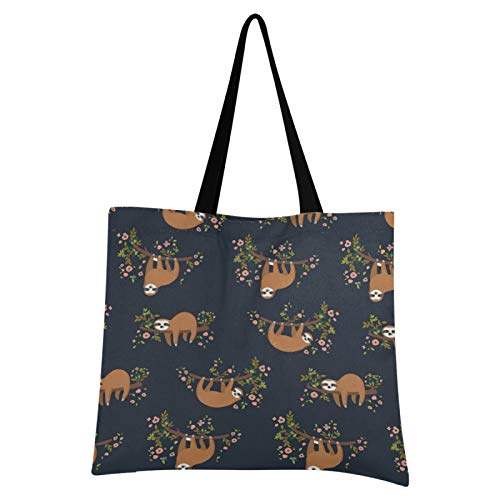 JUMBEAR - Bolso de lona para mujer, diseño de flores de perezoso, tamaño grande, informal, reutilizable, multiusos, de poliéster colorido para compras