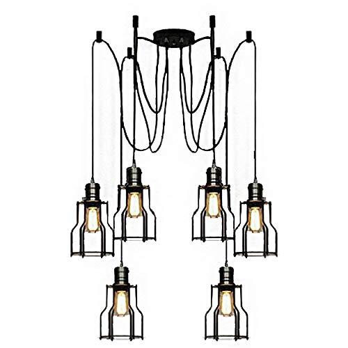Crayom Luminaire suspendu vintage industriel réglable à 6 lumières de la lampe de plafond Edison multiples lampe de plafond araignée bricolage fil métallique pendentif suspension lustre moderne chic r