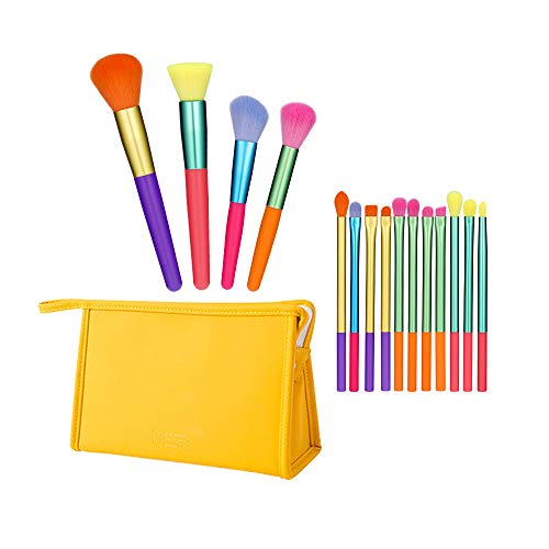 Winloop Colourful Makeup Brush Set 15PCS With Carry Bag Synthetic Kabuki Travel Professional Makeup Bag Powder Eye Shadow Makeup Sets