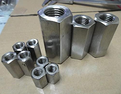 1 Uds M10 M12 M14 M18 tuercas largas tuerca hexagonal tornillo conexión hembra alargamiento acero inoxidable 25mm-100mm longitud-M10 x 25mm