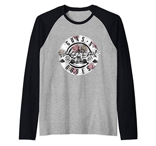 Guns N' Roses Official Floral Bullet Raglan Shirt, Black and Grey, Adults up to 2XL