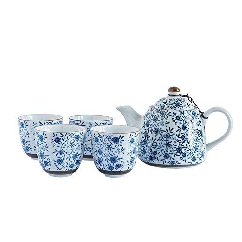 QGL-HQ À thé en porcelaine bleu et blanc de style japonais Teapot avec poignée et tasses à thé Service Set for 4 adultes Joliment emballé dans Coffrets cadeau Cup & Saucer (Couleur: Bleu, Taille: Tail