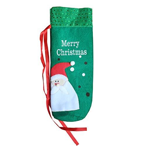 Borsa per bottiglia di vino, fatta a mano in tessuto non tessuto ricamato borsa per bottiglia di vino, decorazione natalizia, set di bottiglie di vino Babbo Natale