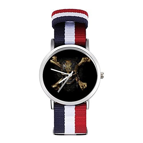 Pirates CaribbeanTrenzado Reloj con Escala Moda Negocios Ajustable Banda de Impresión Color Banda Adecuado tanto para Hombres como Mujeres