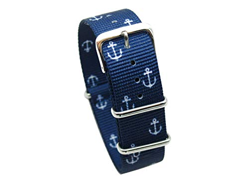 HNS Watch Straps -Choice of Pattern & Width (18mm, 20mm, 22mm) - Ballistic Premium Nylon Watch Straps (20mm, Small Anchor)