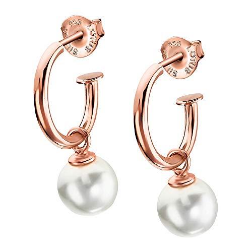 Lotus Pendientes de plata de ley 925 LP1883-4/3 para mujer con perla JLP1883-4-3