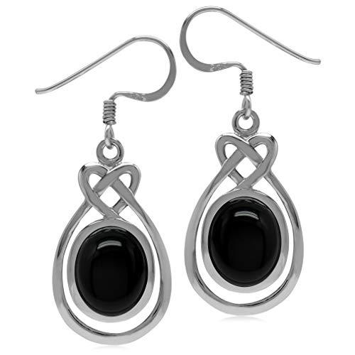 Silvershake 10X8mm Genuine Oval Shape Black Onyx 925 Sterling Silver Celtic Heart Knot Dangle Hook Earrings