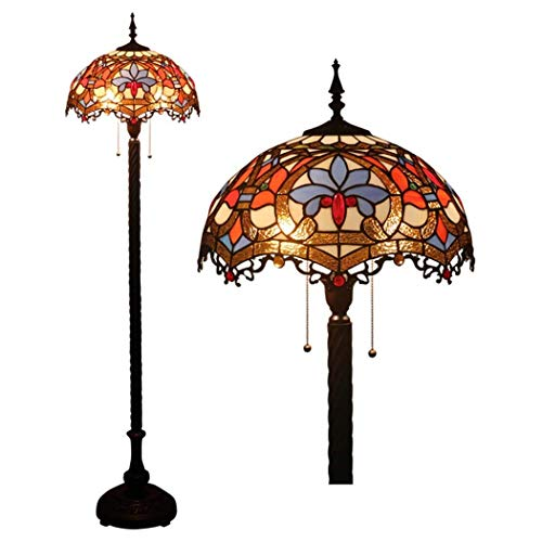 Lámpara de Pie con Vitrales para Interiores de 16 Pulgadas,Luces de Piso Barrocas,Luz de Lectura para Sala de Estar/Dormitorio/Oficina,Interruptor de Cremallera,Luces E27-2