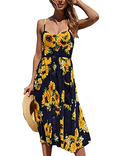 Sommerkleid Damen Knielang Strand Blumen Kleider Abendkleid Freizeit A-Linie Kleid Träger Rückenfreies ärmellos Sommerkleider Strandkleider(Navy Blau L)