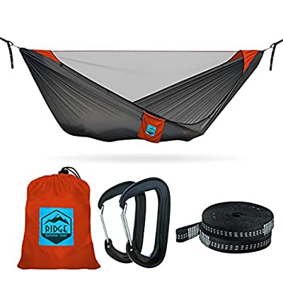 11ft Camping Hammock with Mosquito Net - 2019 Upgraded - Ultralight Hammock Tent Bundle with Bug Netting, Straps, and Carabiners (Grey-Orange Ripstop with Ridgeline, Double/Large)