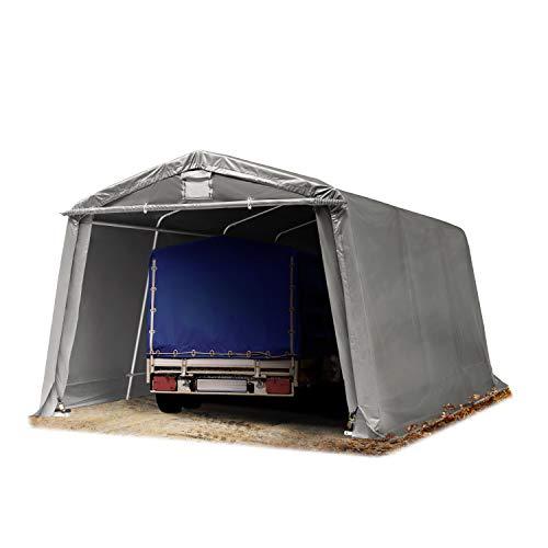 TOOLPORT Tendone Garage Premium 3,3 x 4,8 m Grigio con Telo da ca. 500g/m² PVC, Costruzione Stabile in Acciaio, Garage per Moto