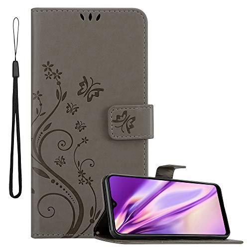 Cadorabo Hülle für Samsung Galaxy A10 in FLORAL GRAU Handyhülle im Blumen Design mit Magnetverschluss, Standfunktion & 3 Kartenfächern Hülle Cover Schutzhülle Etui Tasche
