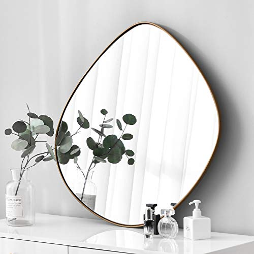 BIKARSOUL Irregular Wall Mirror Brass Framed Wall Mirror for Living Room Bedroom Bathroom Entryway Wall Decor 27.8