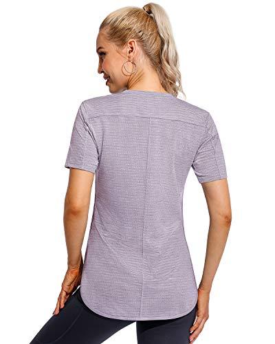 Promover Camisetas Deportivas para Mujer de Manga Corta con Abertura Lateral Tops de Yoga Entrenamiento