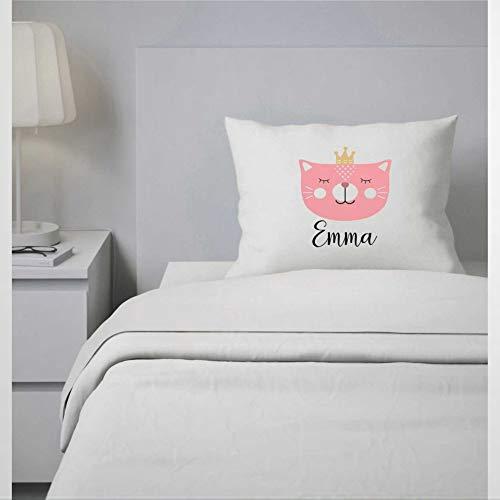 EricauBird Funda de almohada de princesa con diseño de gato personalizado para niñas, funda de almohada personalizada para niños, funda de almohada de 30,4 x 50,8 cm