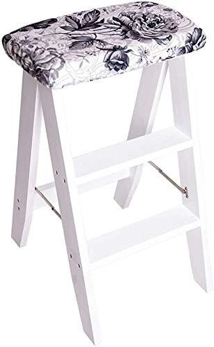Yxsd sportenkruk inklapbaar / 3-Strip ladder, houten ladder, kruk, breedte 150 kg in wit