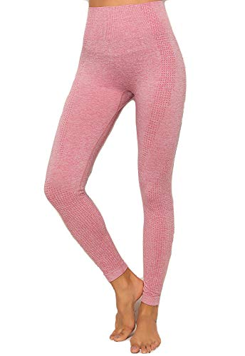 FITTOO Leggings Sin Costuras Mujer Pantalon Deportivo Alta Cintura Yoga Elásticos Seamless #1 Rosa Medium