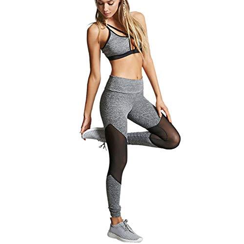 NNAA Pantalones de yoga de malla para mujer, para entrenamiento, deporte, fitness, tiempo libre gris M