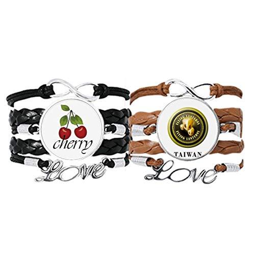 Bestchong Armband mit Taiwan-Logo, fliegende Laternen, Handschlaufe, Lederseil, Kirsche, Liebesarmband, Doppelset