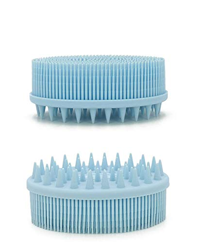 Exfoliating Brush Dry Brush Silicone Loofah Shower Scrubber For Body Shower Loofah-Upgrade 2 in 1 Bath And Shampoo Brush-Body Scrubber,And More Hygienic Than Traditional Loofah,Easy to Clean(blue)