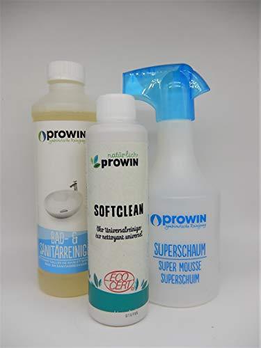 proWIN Set Bad- UND SANITÄRREINIGER 0,5 L SOFTCLEAN 0,25 L SUPERSCHAUMFLASCHE