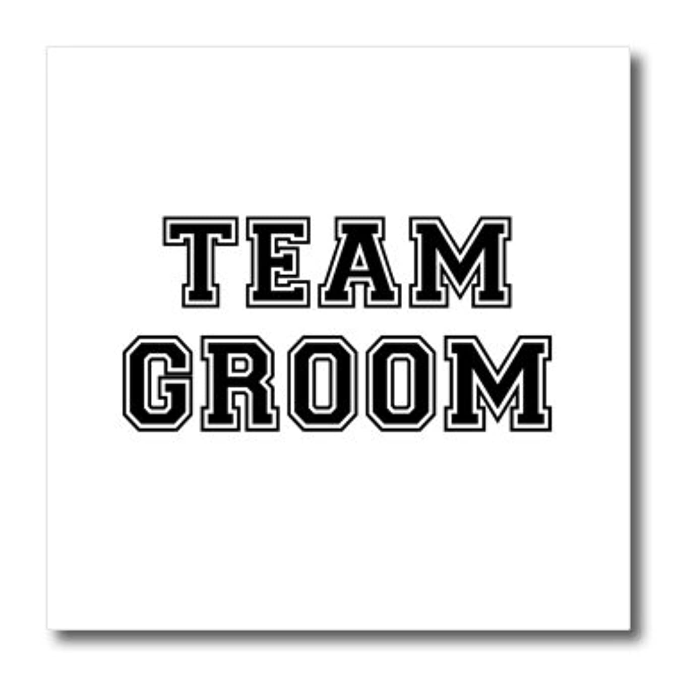 3dRose ht_151269_2 Team Groom Black Text on White Bachelor Party Stag Night Gifts Iron on Heat Transfer, 6 by 6-Inch, for White Material