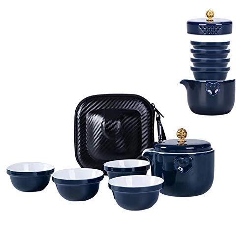 fanquare Portátil Kung Fu Juego de Té de Viaje, Juego de Tazas de Cerámica Azul, 1 Tetera, 4 Tazas de Té con Bolsa de Viaje