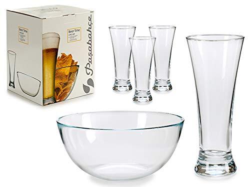 TU TENDENCIA ÚNICA Juego de 4 Vasos de Cerveza y 1 Bol de Cristal Resistente y Duradero. Apto para Lavavajillas, Microondas y Congelador
