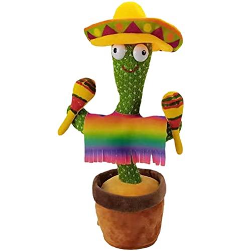 Woorea 32 Cm Cactus Eléctrico para Niños, Cactus De Peluche Eléctrico para Cantar, 3 Canciones, Juguete De Peluche con Música, Decoración para El Hogar Y La Oficina