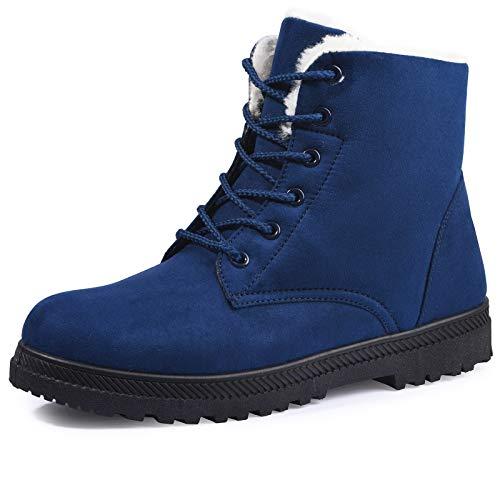 susanny Zapatos de Plataforma Zapatillas Plus Velvet Invierno Las Mujeres Botas de Nieve de algodón de Encaje, Azul (Azul), 41.5