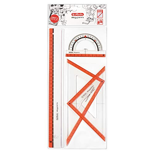 Herlitz Juego de geometría, kit escolar 4 unidades: 2 escuadras, regla, transportador de ángulos, colores surtidos para diestros y zurdos, plástico resistente al impacto - 11368222