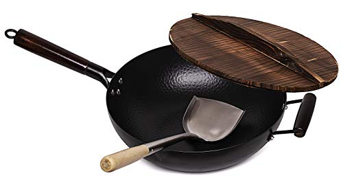 Hand Hammered Carbon Steel Wok with Wooden Lid & Asian Spatula with Wooden Handle - Stir Fry Pan for Chinese, Japanese, and Cantonese Cuisine – Flat Bottom Wok for Asian Cooking by Cookeries