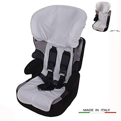 Babysanity Rivestimento copri seggiolino auto 9/36 e 15/36 kg in DOPPIA SPUGNA DI COTONE 100% colore Bianco
