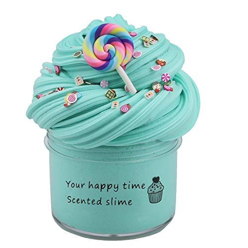 JIJK Juguetes antiquietos con mini abalorios, juego de 3 Lollipop Litchi Ice Cream Perfumado Cloud Slim- Suave y no pegajoso Fuffly Sludge Juguetes para fiestas infantiles