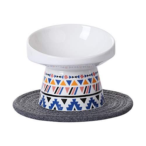 HCHLQLZ Blu Ceramica Inclinato Alzato Ciotole per Cani Gatti Alzata Ciotola Cane Gatto per Cibo Acqua Piccolo