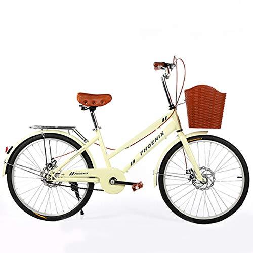 24 Inch Women's Bicycle Road Bike Retro Bike Ladies Bike High Carbon Steel Double Disc Brake Girl Bike